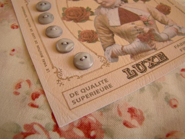 Lovely card with 6 antique engraved buttons in mother of pearl, color grey.