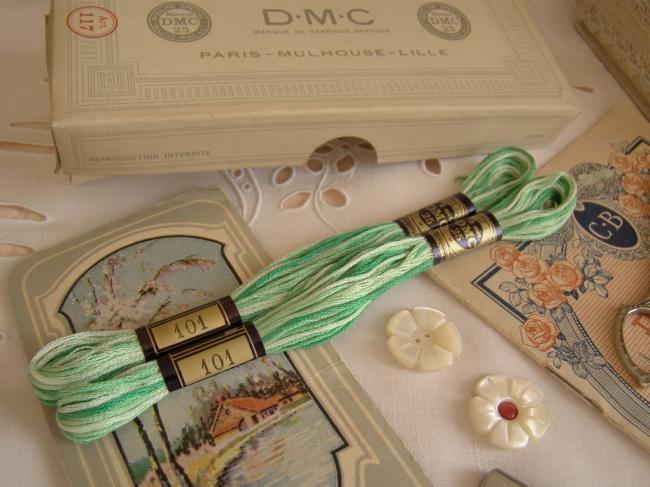 Echeveau Coton mouliné spécial DMC n°25, couleur vert ombré et nuancé N°101