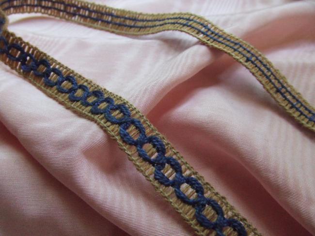 Joli ruban galon composé de boucles de corde enrubanné de coton perlé bleu