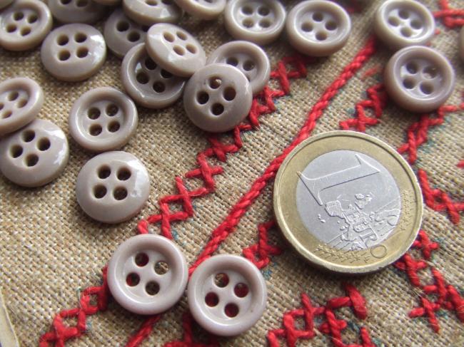 Lot de 12 petits boutons en pate de verre, gris sable, 4 trous, 12mm de diamètre