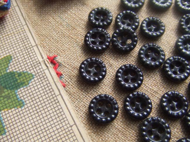 Adorable lot de 6 boutons ronds perlés, en verre moulé, couleur noir, 1900