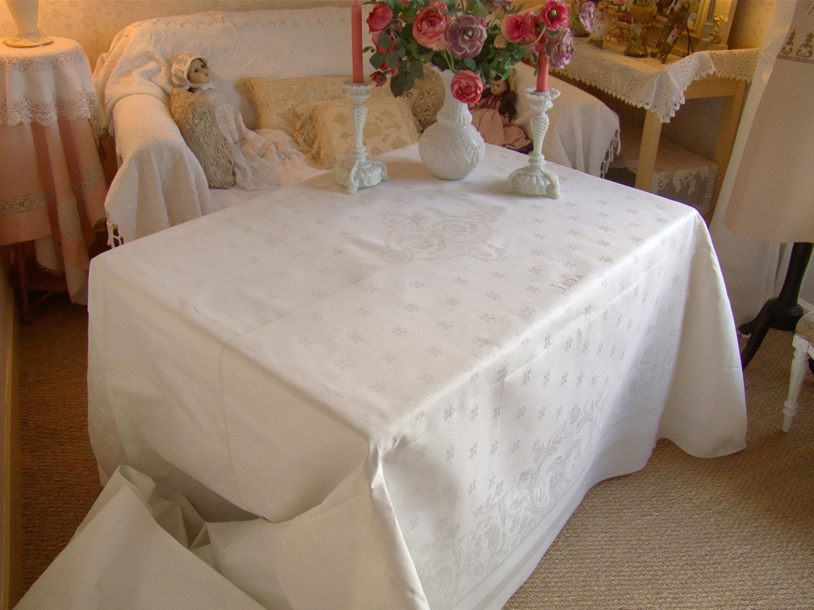 Nappe blanche rectangulaire - Nappe de table rectangulaire sur mesure ...