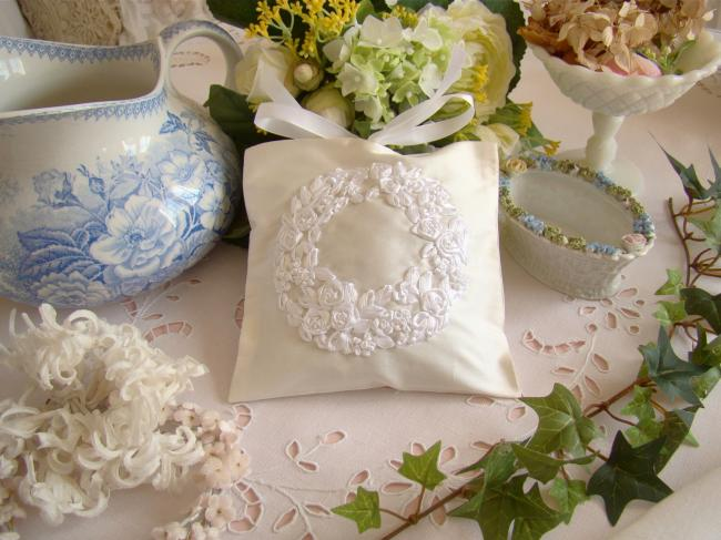 Luxureous silk lavander sachet with hand-embroidered ribbon flowers crown white