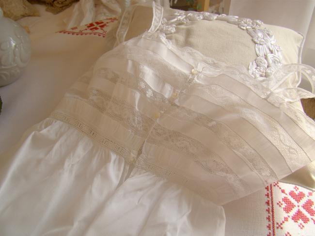 Romantique combinaison de jour en batiste de lin et dentelle Valenciennes 1900
