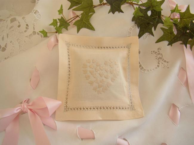Lovely lavander sachet with hand-embroidered drawn thread & small hearts (ecru)