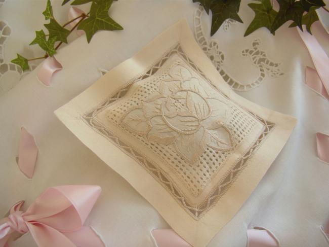 Lovely lavander sachet with hand-embroidered openwork stylish flower (ecru)