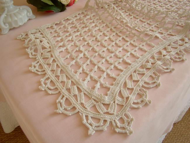 Lovely crochet d'art lace buffet runner