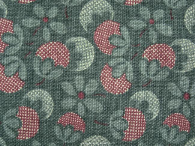 Coupon de coton à fond vert foncé, impression fruits et glands (Moda)