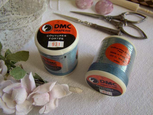 Ancienne bobine de fils Draperie,coutures fortes DMC, n°931 Bleu Gris