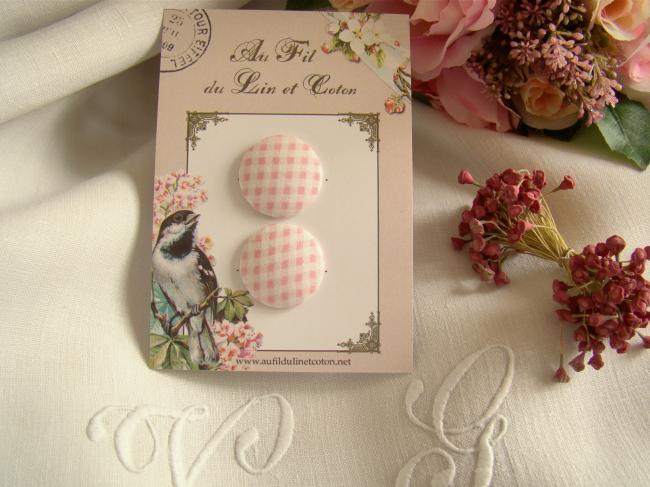Jolie carte de 2 boutons recouverts de tissu ancien Vichy rose et blanc