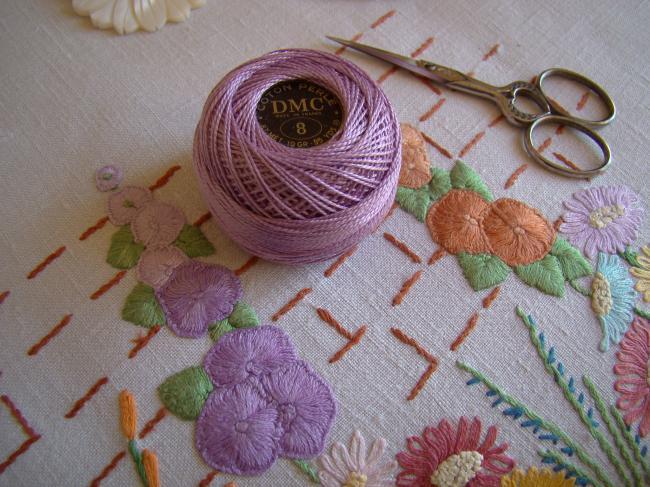 Ancienne Bobine de Coton perlé DMC, N°8, nuance 554 (violet prune), 10g