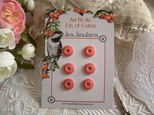 carte de 6 petits boutons avec motif style couture, en Ø 14 mm