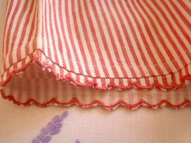 Amusante culotte panty en coton doublé flanelle à rayures rouges 1940
