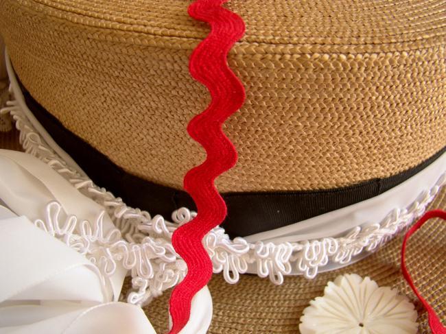 Joli ruban croquet ou serpentine en coton naturel rouge vif (10mm)