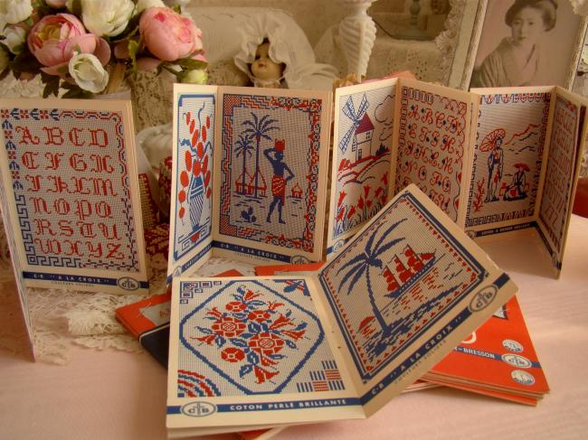 Série de 5 petits albums T&Cartier-Bresson Alphabet & motifs au point de croix