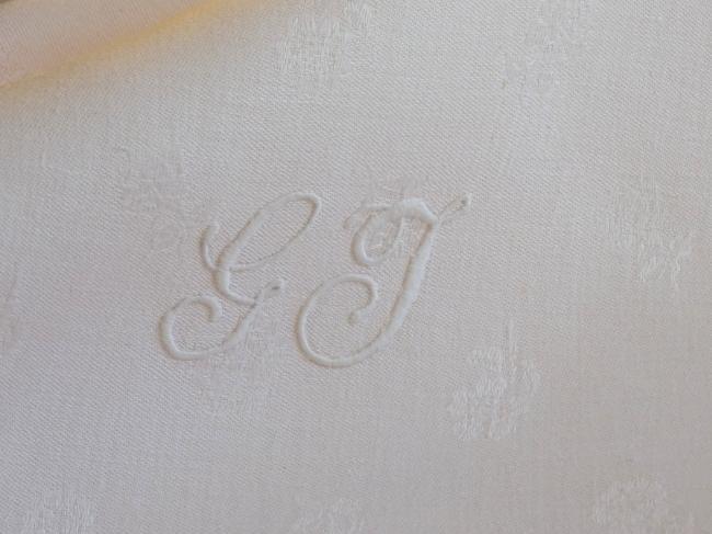 Magnifique nappe en damassé de lin soyeux rouge et blanc, Napoléon III