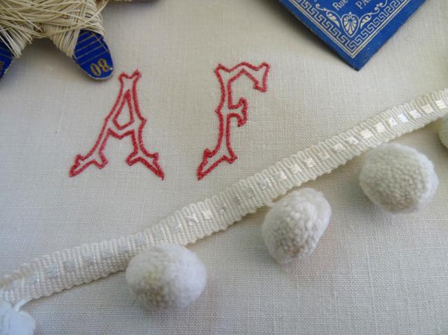 Ruban galon passementerie à pompons en coton blanc