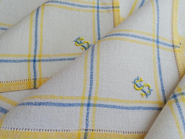 Elégante petite nappe et ses serviettes en lin granité monogramme SE