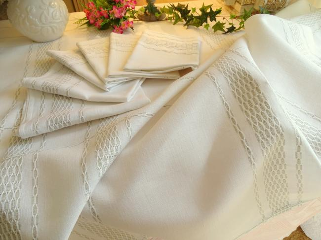 Champêtre service nappe et ses 6 serviettes en lin avec motif tissé 1960