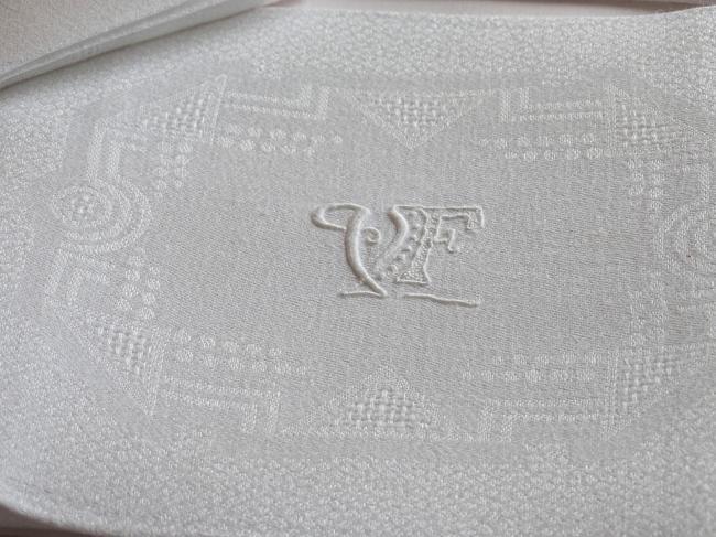Superbe série de 8 serviettes en damassé de lin, roses Art Déco, mono VF