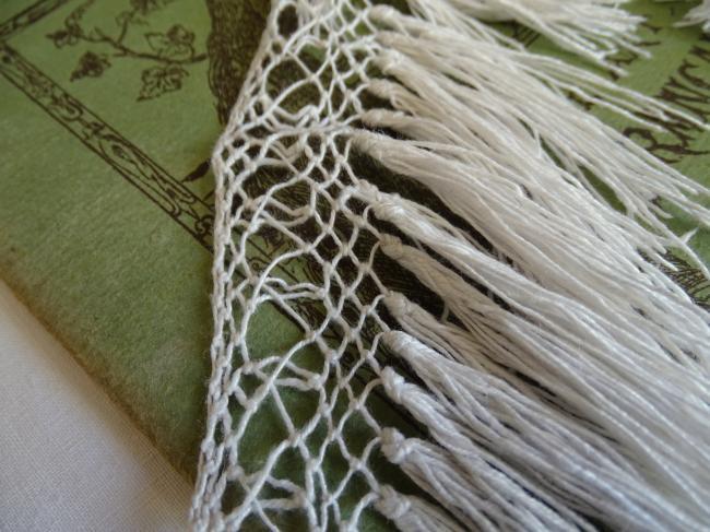 Très jolie bordure faite de dentelle de filet rebrodé & franges (1,90m)