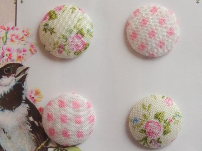 Carte de 4 boutons recouverts de tissu ancien vichy et fleuri rose & blanc 18mm
