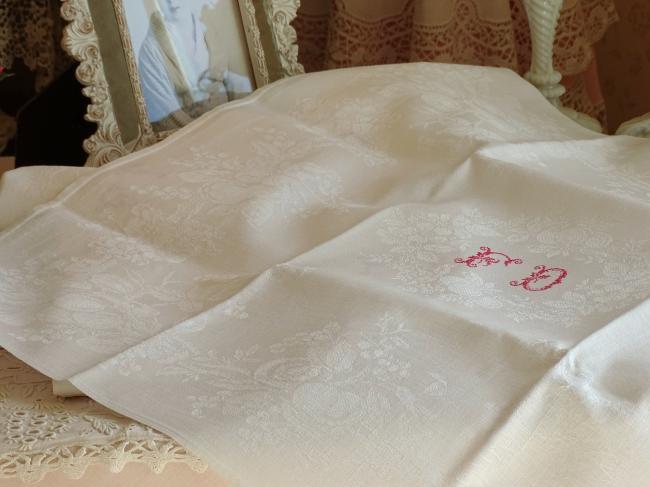 11 belles serviettes en damassé avec monogramme fleuri FD rouge