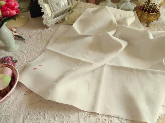Série de 4 serviettes ou essuie-main en pur lin tissé, monogramme MB rouge