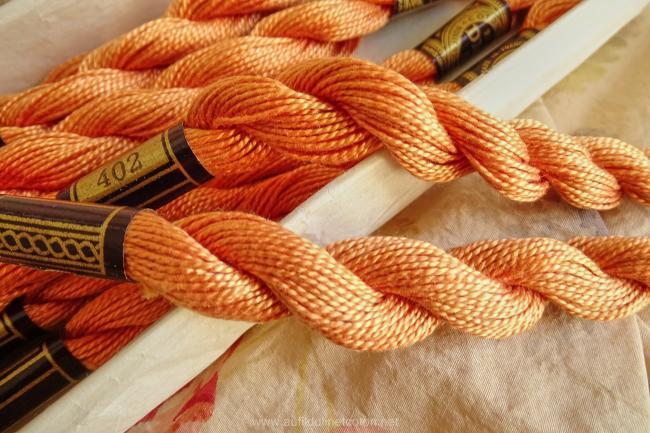 Echeveau coton perlé DMC, n°5 couleur Poterie  (nuance n°402)