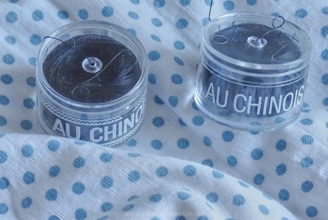 Vintage bobine de fil de lin 'Au Chinois', noir en n°80