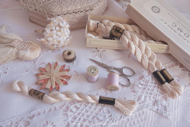 Echeveau coton perlé DMC, n°5 Ecru naturel