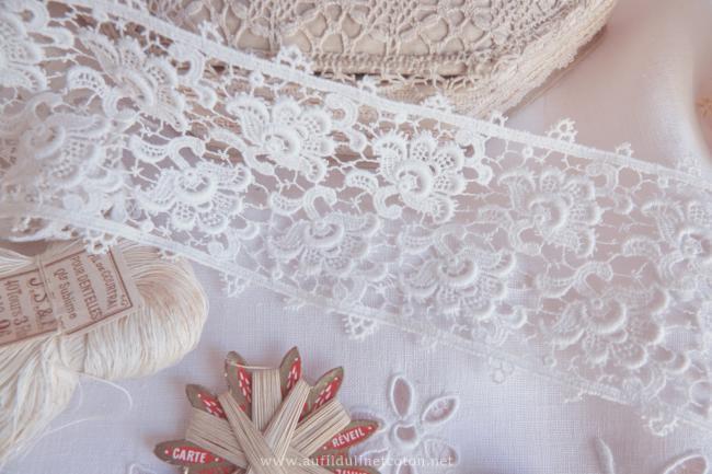 Elégante dentelle mécanique d'entre-deux en coton blanc 1,8m x 8,5cm