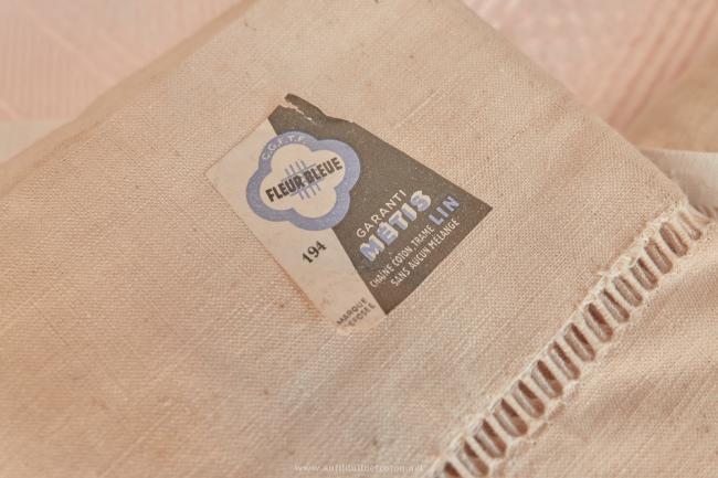 Drap ancien neuf en métis de lin & coton 'Fleur bleue'