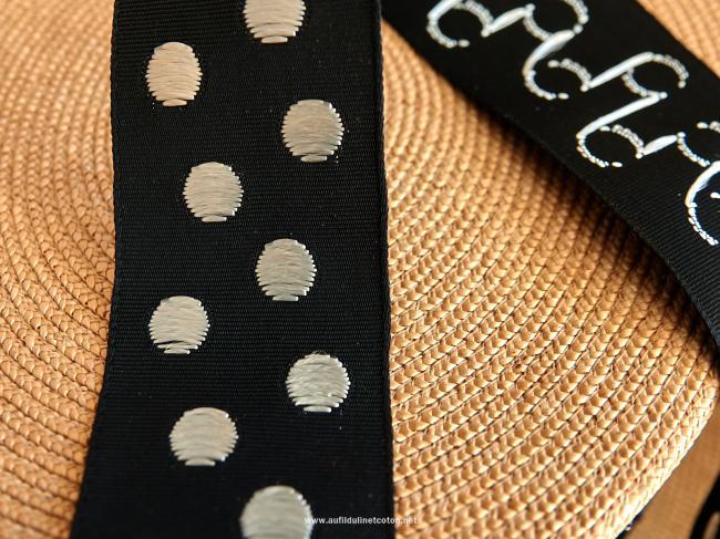Ancien ruban gros-grain satiné à gros pois tissé, noir/blanc 1925, 40mm