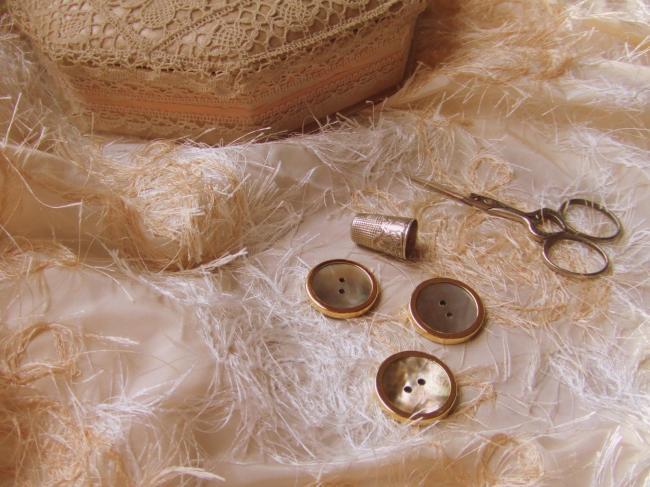 Grand Bouton de nacre grise entouré de métal doré, bordure moyenne