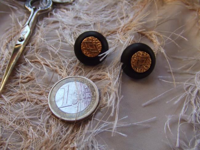 Lot de 2 boutons ronds en plastique noir avec médaillon doré, motif losange